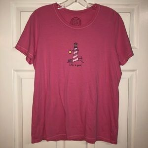 Hot Pink Life is Good Tee w/ Lighthouse